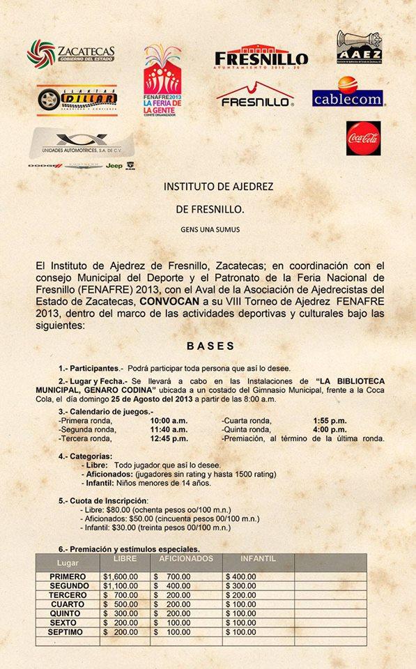 VIII Torneo de Ajedrez FENAFRE, Zacatecas