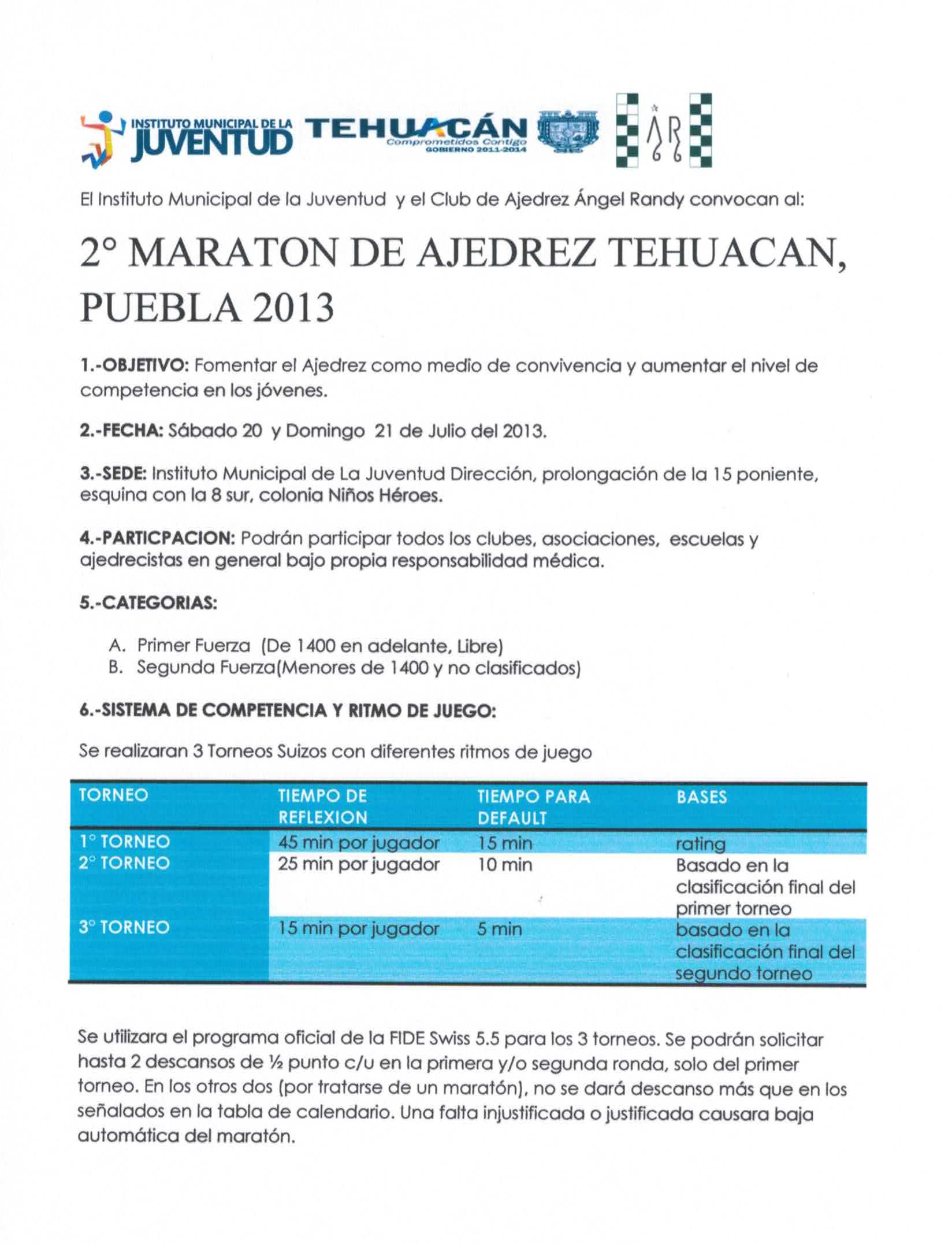 2° MARATON DE AJEDREZ TEHUACAN, PUEBLA